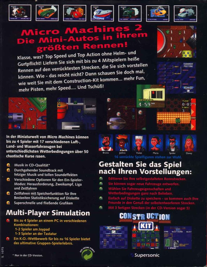 Micro Machines 2: Turbo Tournament DOS Back Cover