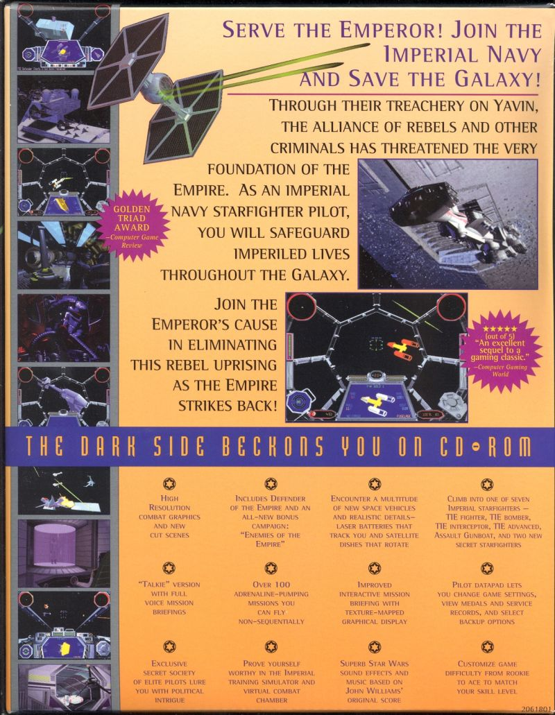 Star Wars: TIE Fighter (Collector's CD-ROM) DOS Back Cover
