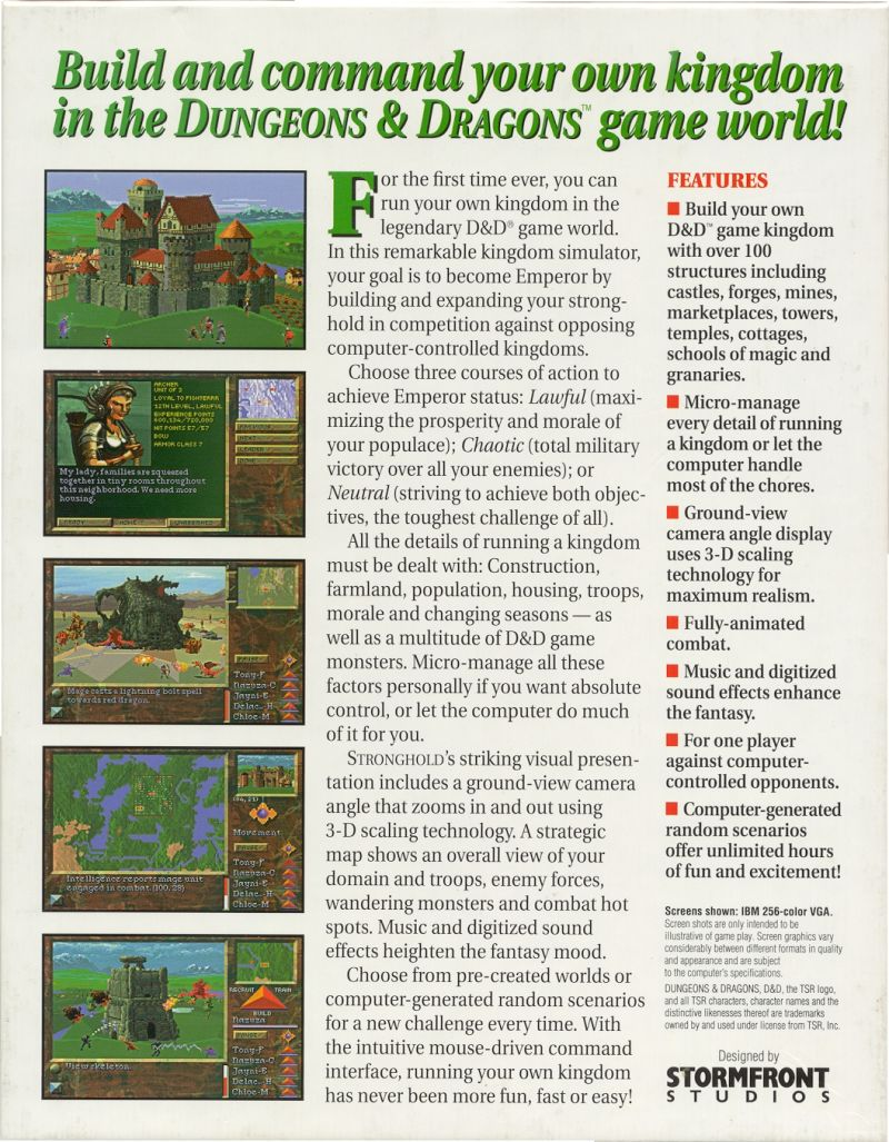 Stronghold DOS Back Cover