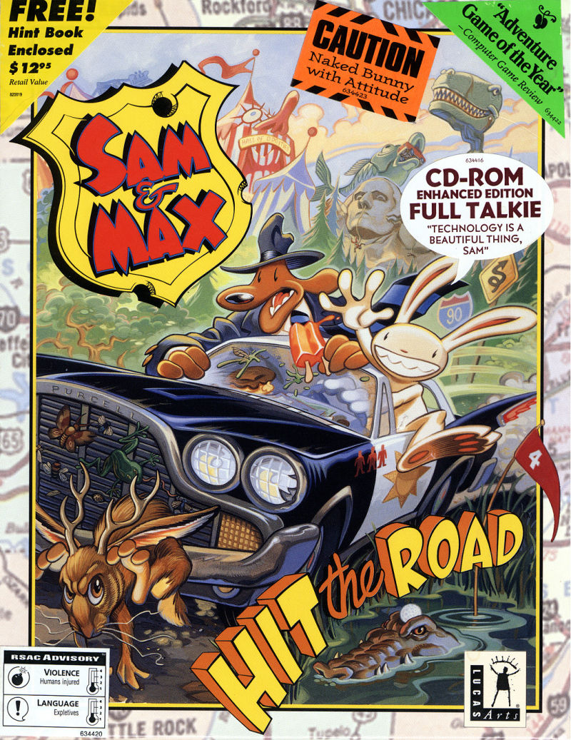 Sam & Max Hit the Road DOS Front Cover