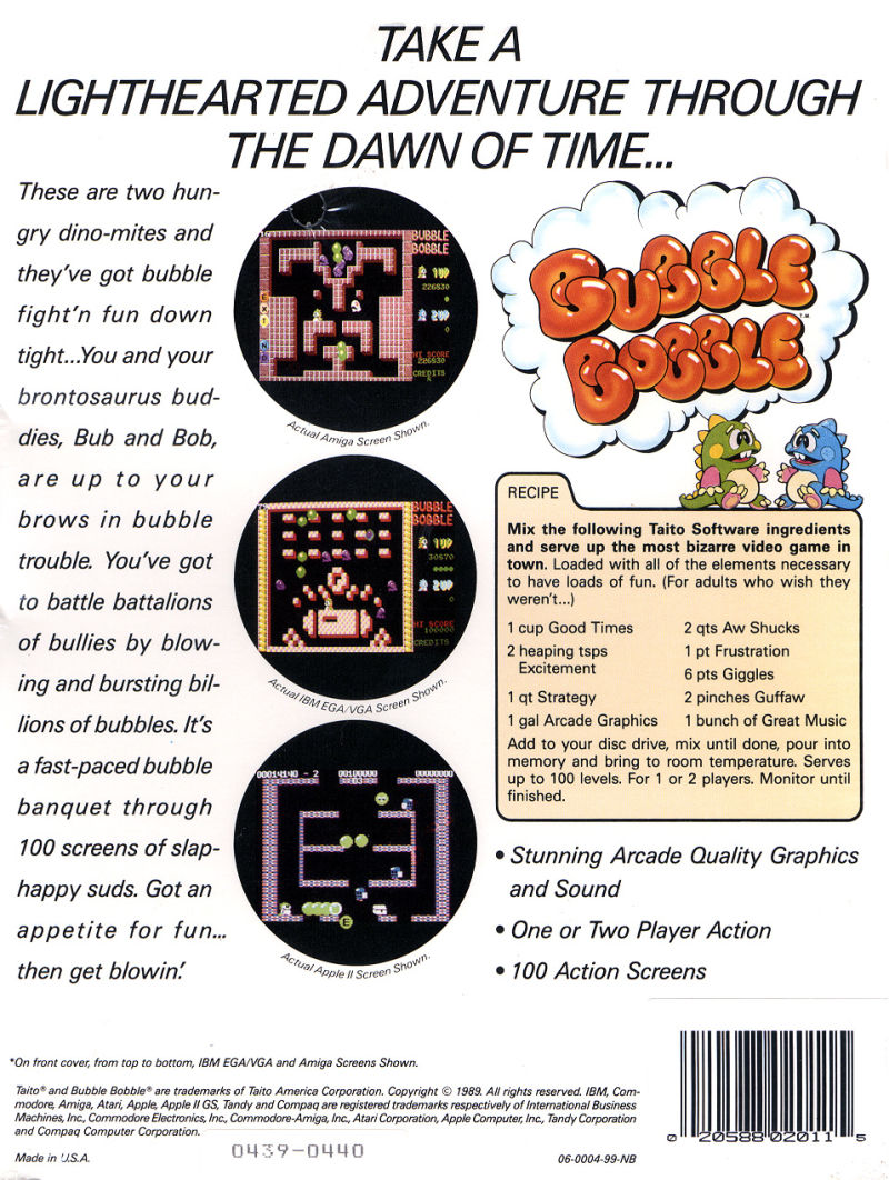 Bubble Bobble DOS Back Cover