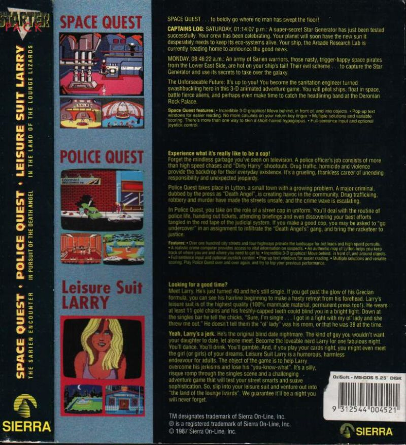 3-D Animated Adventure Games Starter Pack DOS Back Cover