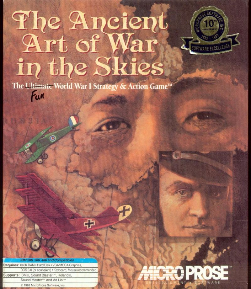 The Ancient Art of War in the Skies DOS Front Cover