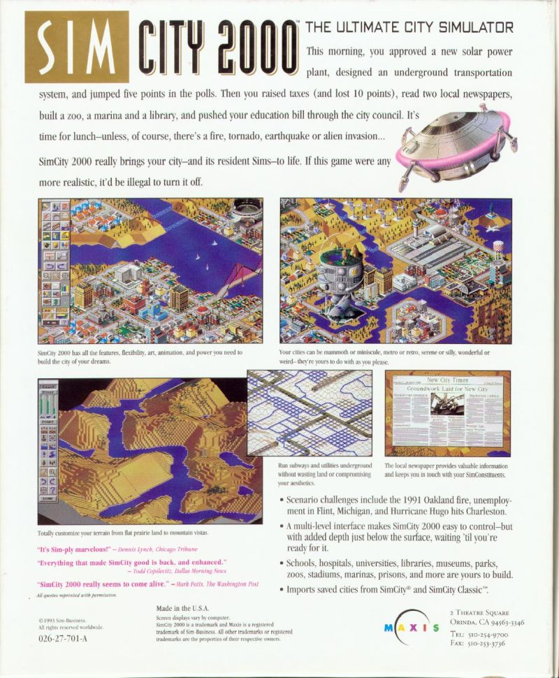 SimCity 2000 DOS Back Cover