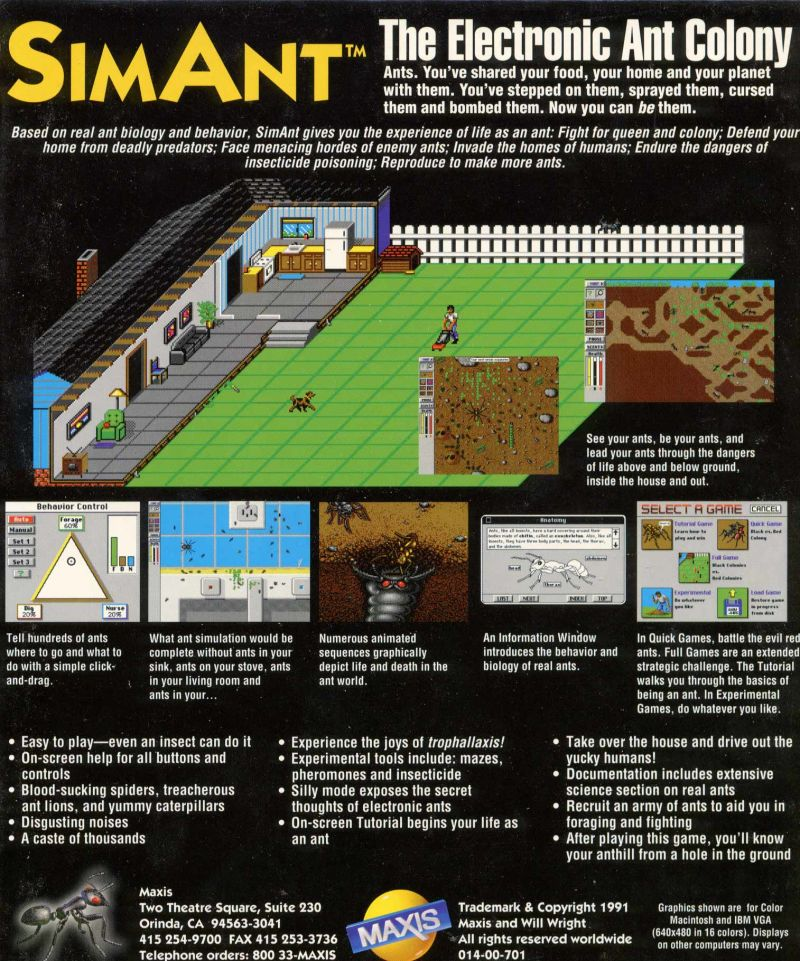 SimAnt: The Electronic Ant Colony Windows 3.x Back Cover