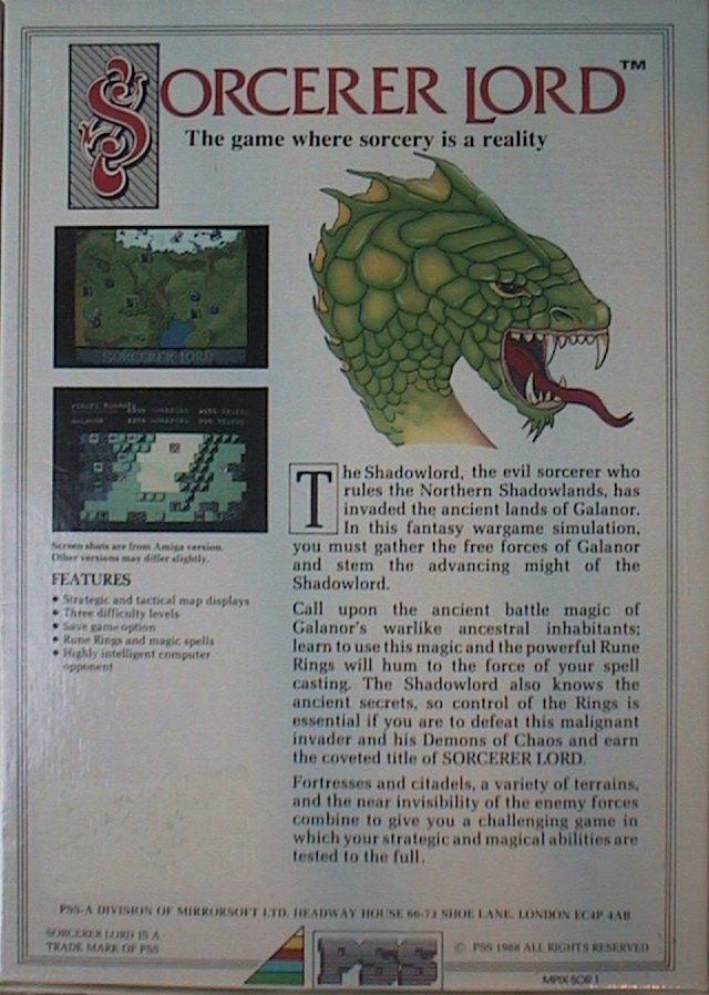 Sorcerer Lord DOS Back Cover