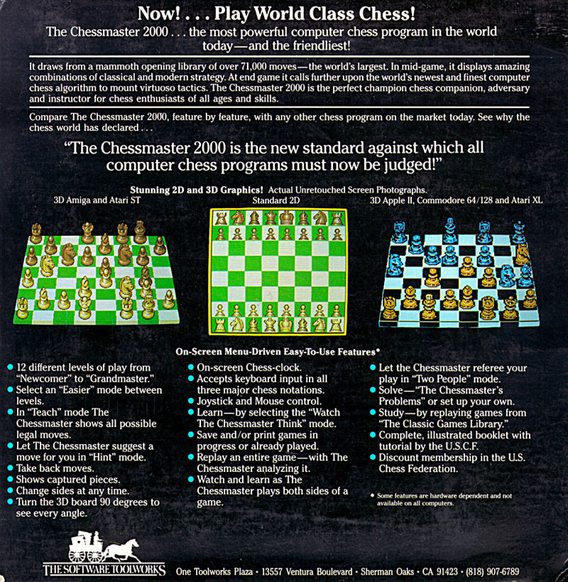 The Chessmaster 2000 DOS Back Cover