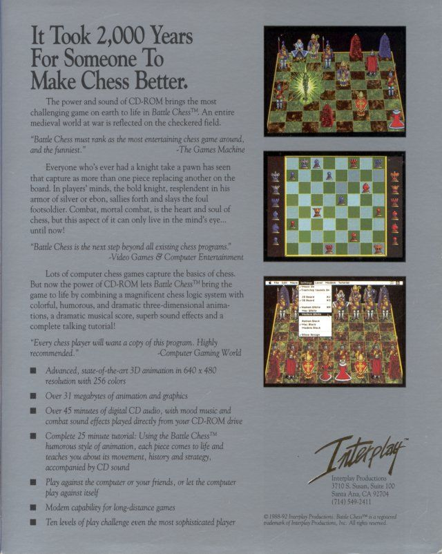 Battle Chess Enhanced CD ROM DOS Back Cover