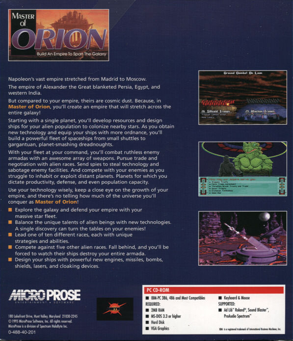 Master of Orion DOS Back Cover