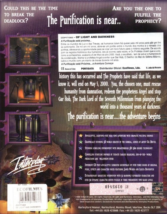 Of Light and Darkness: The Prophecy Windows Back Cover