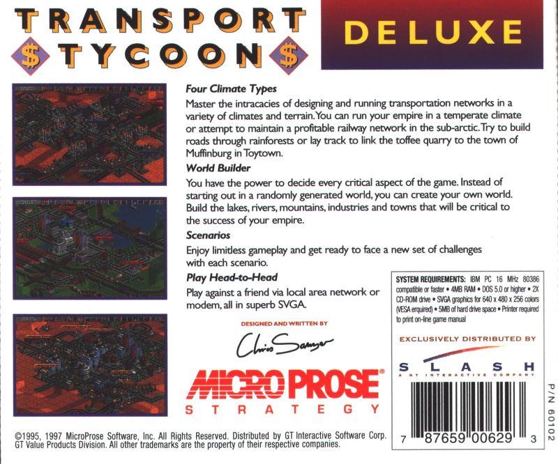 Transport Tycoon Deluxe DOS Back Cover
