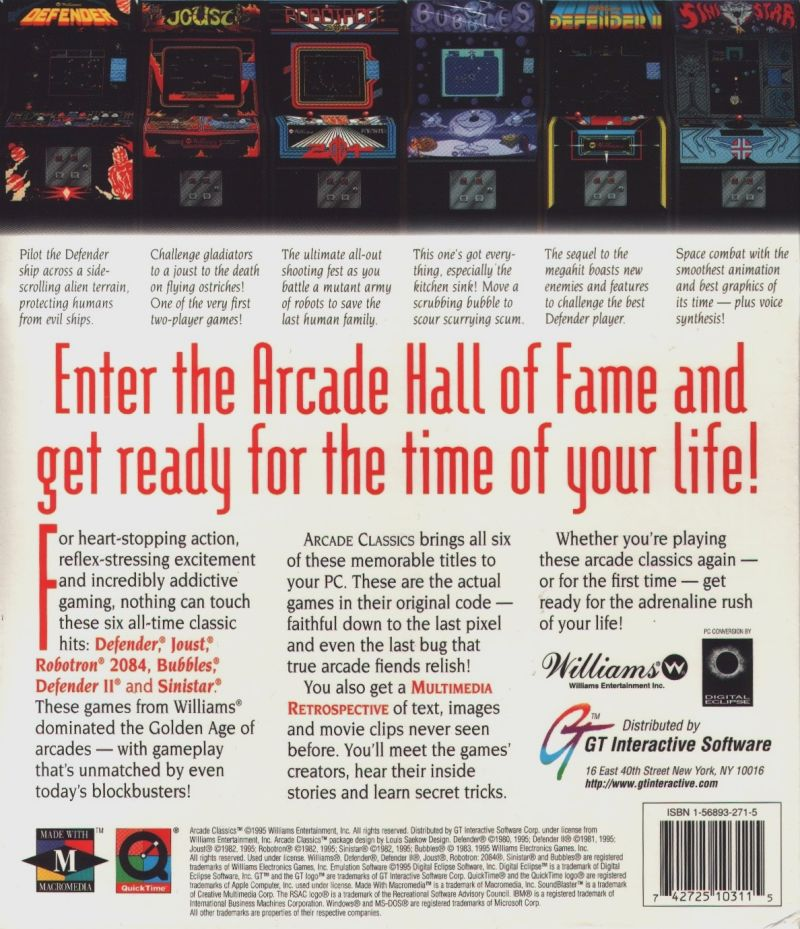Williams Arcade Classics DOS Back Cover
