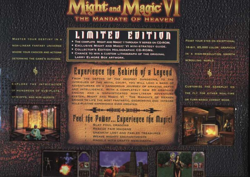 Might and Magic VI: The Mandate of Heaven (Limited Edition) Windows Back Cover
