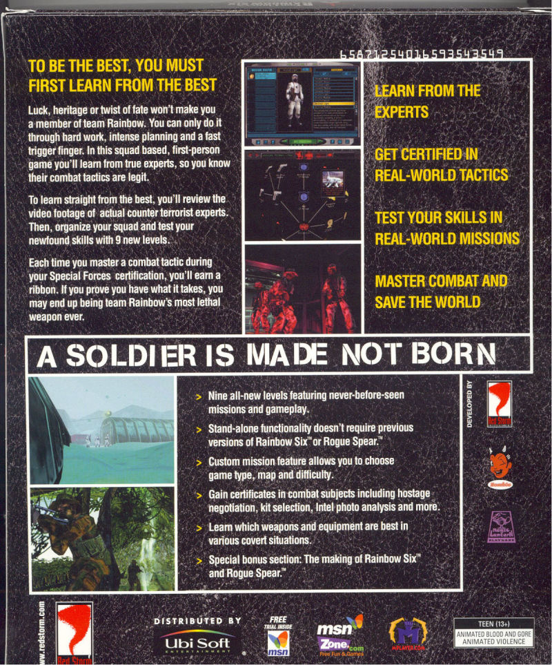 Tom Clancy's Rainbow Six: Covert Ops Essentials Windows Back Cover