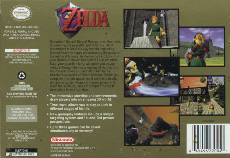 The Legend of Zelda: Ocarina of Time Nintendo 64 Back Cover