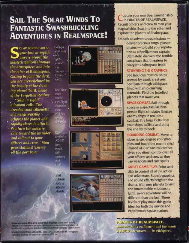 Spelljammer: Pirates of Realmspace DOS Back Cover