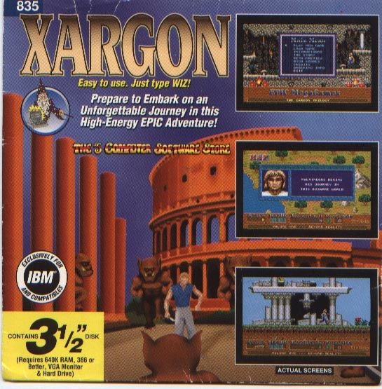 Xargon: The Mystery of the Blue Builders - Beyond Reality DOS Front Cover