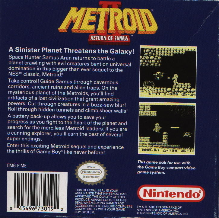 Metroid II: Return of Samus Game Boy Back Cover