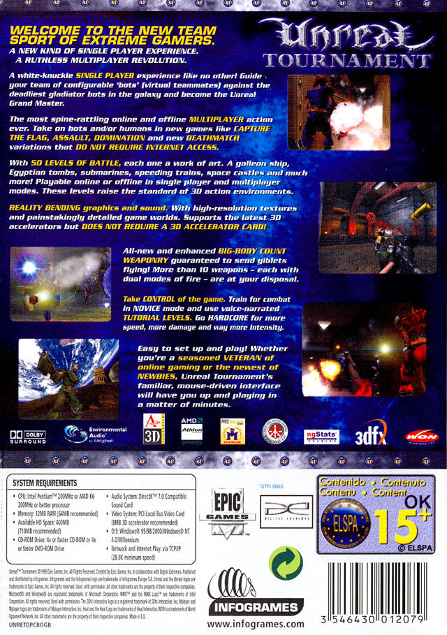 Unreal Tournament Windows Back Cover