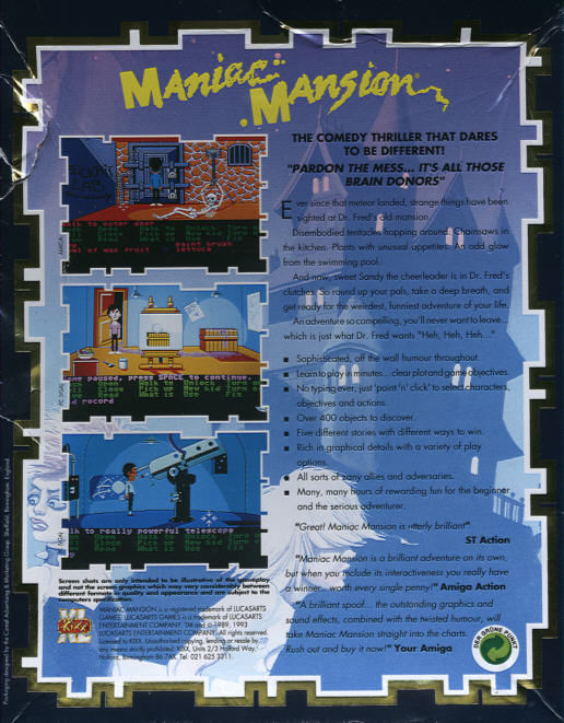 Maniac Mansion DOS Back Cover