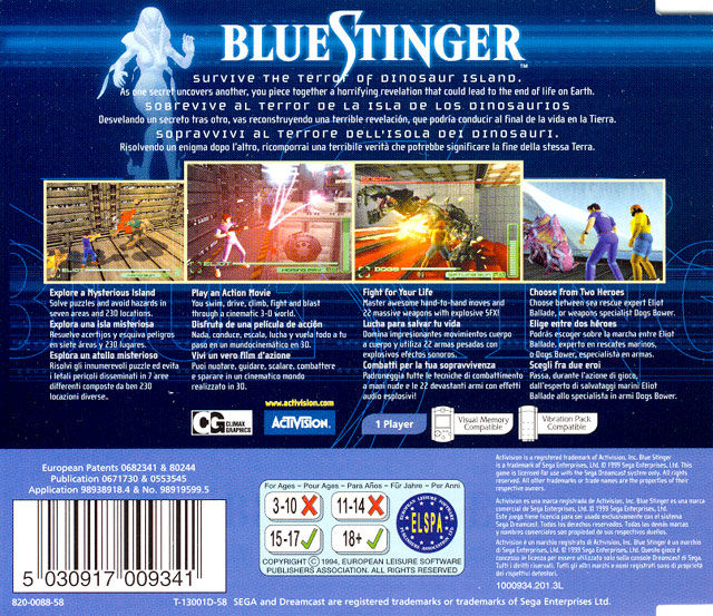 Blue Stinger Dreamcast Back Cover
