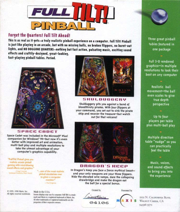 Full Tilt! Pinball Windows Back Cover