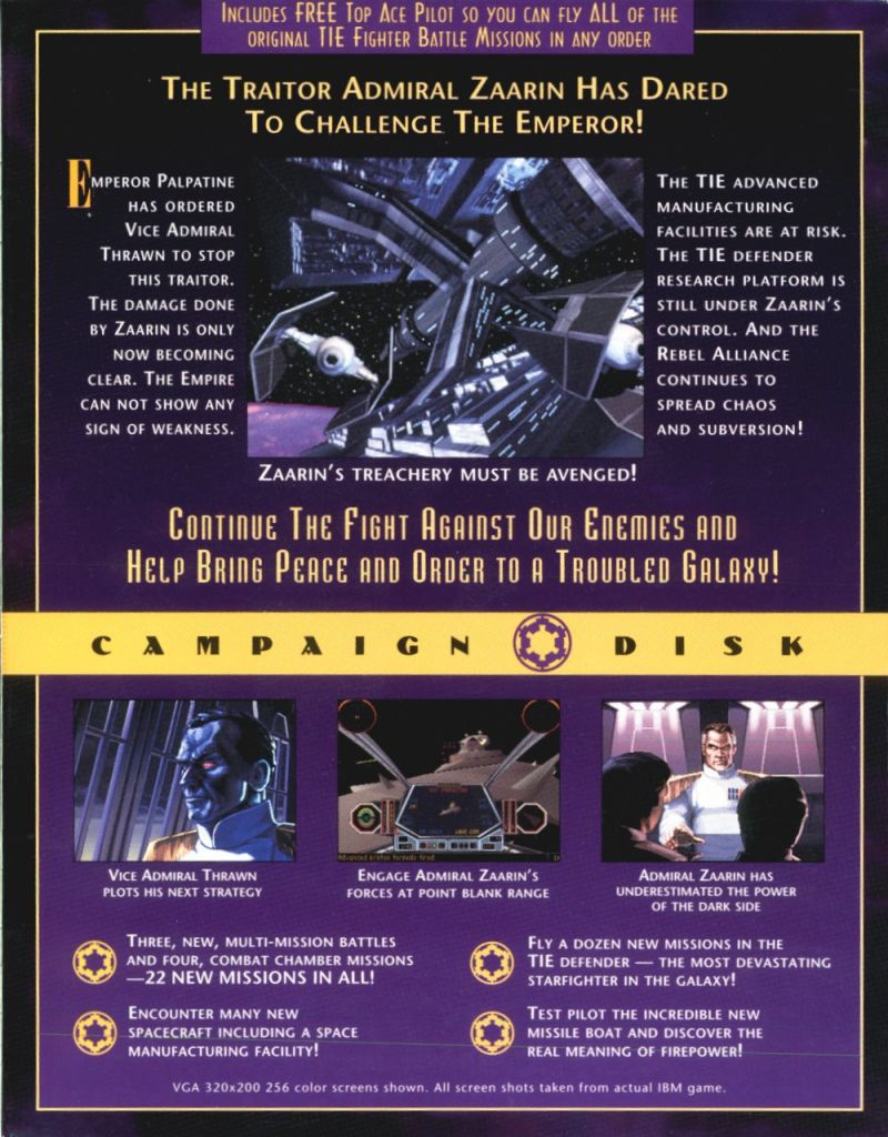 Star wars tie fighter defender of the empire 1994 dos box cover