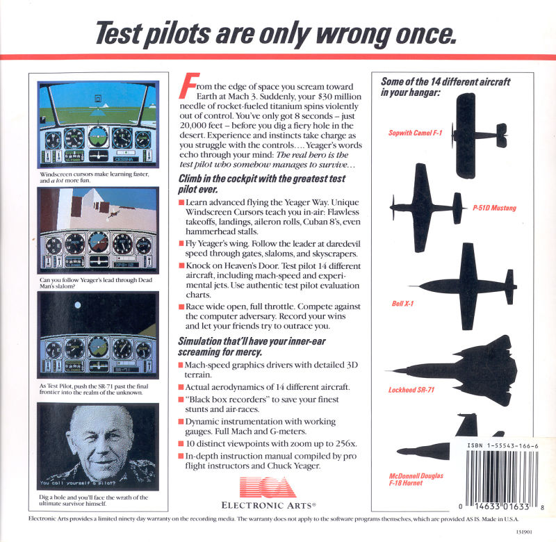 Chuck Yeager's Advanced Flight Simulator DOS Back Cover