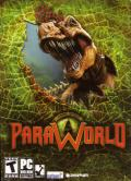 ParaWorld Windows Front Cover Front cover with die-cut area near the dinosaur head hides the humans surrounding the dinosaur.
