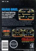 Mario Bros. NES Back Cover