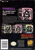 Pinball NES Back Cover