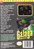 Galaga NES Back Cover