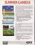 Summer Games II Commodore 64 Back Cover