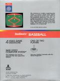 RealSports Baseball Atari 2600 Back Cover