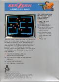 Berzerk Atari 5200 Back Cover