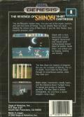 The Revenge of Shinobi Genesis Back Cover