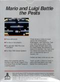 Mario Bros. Atari 7800 Back Cover