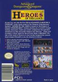 Heroes of the Lance NES Back Cover
