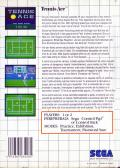 Tennis Ace SEGA Master System Back Cover