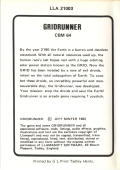Gridrunner Commodore 64 Back Cover