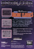 Williams Arcade Classics Game.Com Back Cover