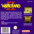 Wario Land II Game Boy Back Cover