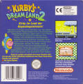 Kirby's Dream Land 2 Game Boy Back Cover