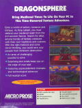 Dragonsphere DOS Back Cover