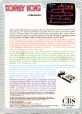 Donkey Kong ColecoVision Back Cover