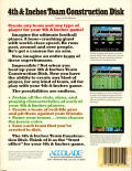 4th & Inches Team Construction Disk Amiga Back Cover