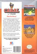 Cabal NES Back Cover