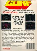 Gorf ColecoVision Back Cover
