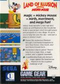 Land of Illusion starring Mickey Mouse Game Gear Back Cover