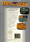 Metal Gear NES Back Cover